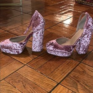 ASOS Shoes - Pink Crushed Velvet Heels